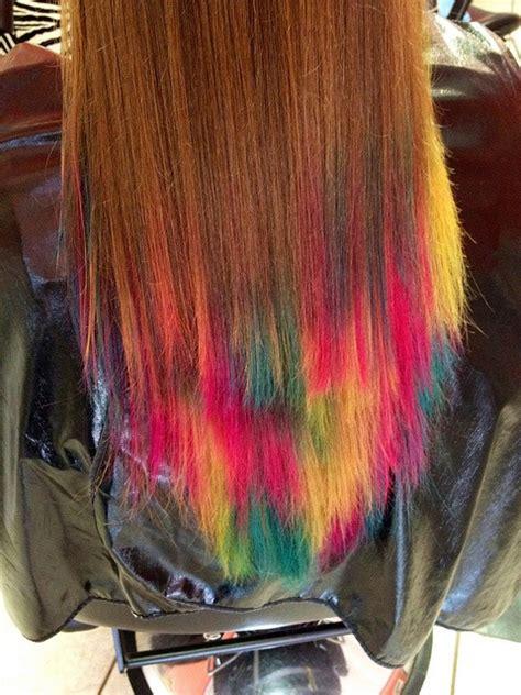 colorful tips dip dyed hair  haircut web