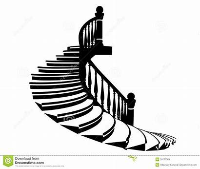 Stairs Silhouette Clipart Vector Staircase Spiral Stairwell