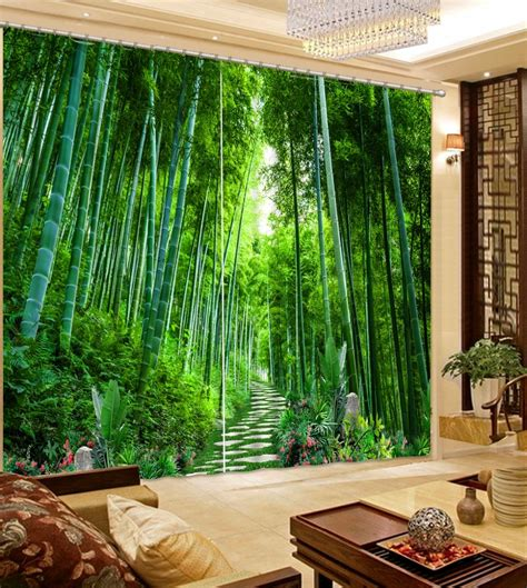modern bedroom curtains bamboo blackout  window curtain