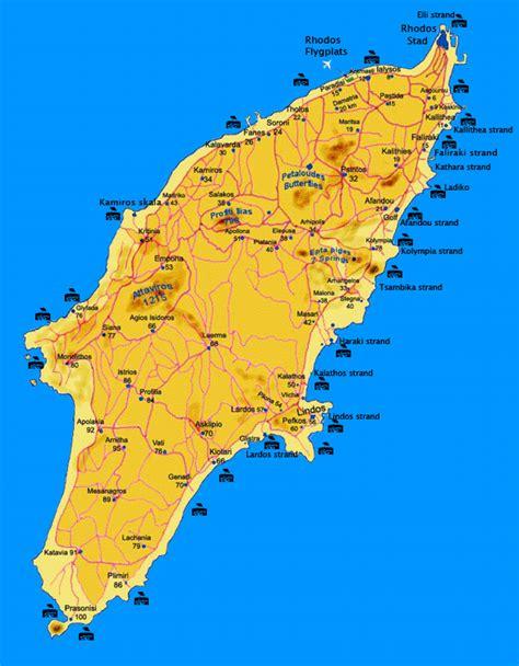 Rhodos karta med stränder och byar