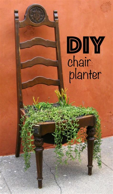 diy chair planters  plant stands  outdoors