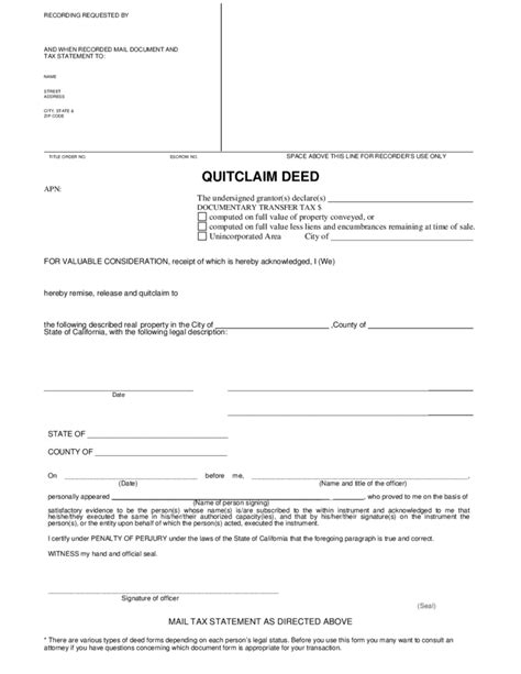 quit claim form california free quitclaim deed template california free download