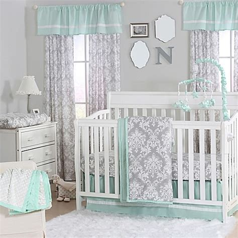 peanut shell damask crib bedding collection  mint