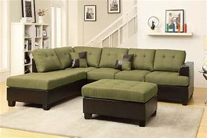Poundex moss f7604 green leather sectional sofa and for Moss green sectional sofa