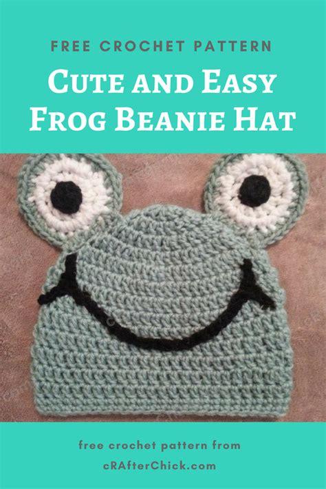 cute  easy frog beanie hat crochet pattern
