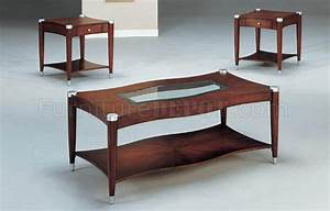 Brown cherry finish modern 3pc coffee table set w shelves for Modern cherry coffee table