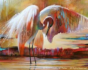 Abstract Bird Art • Contemporary Egret Painting ...