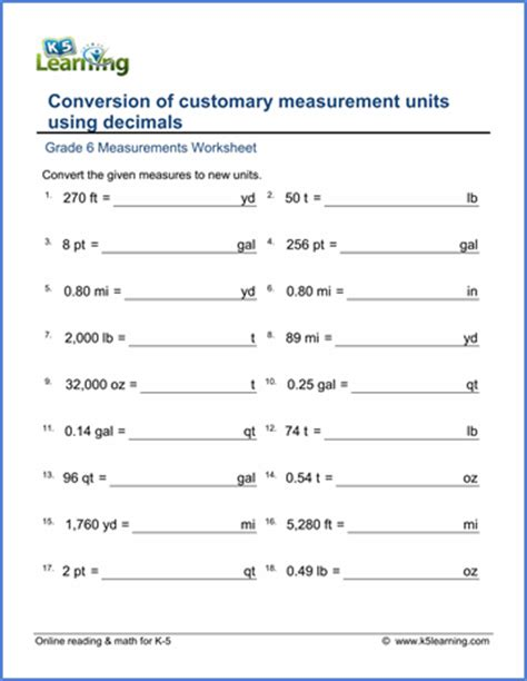 Grade 6 Worksheets Conversion Of Customary Units (with Decimals)  K5 Learning
