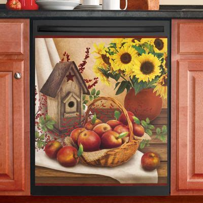 country apple dishwasher magnet sunflower kitchen decor