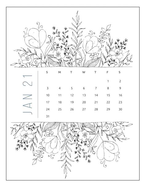 printable calendar floral style world