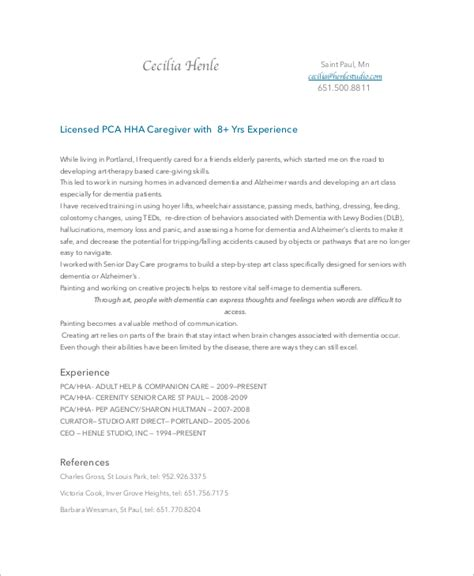 Senior Care Resume by Sle Caregiver Resume 7 Exles In Word Pdf