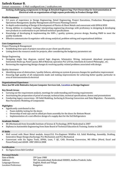 automobile resume samples mechanical engineer resume