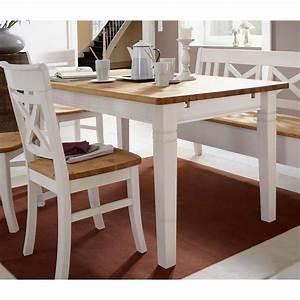Esstisch 160x90 Fjord Holz Kiefer massiv 2 farbig weiß
