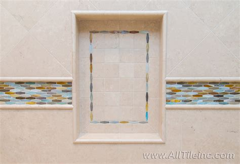 Preformed Shower Niche - preformed receseed shower niche transitional bathroom