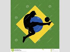 Football Player, Brazilian Flag In Background Stock