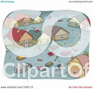 Cartoon of a Flooded Town with Cars and Houses - Royalty ...