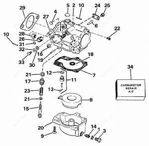 Evinrude 1989 60 - Te60tlcea  Carburetor