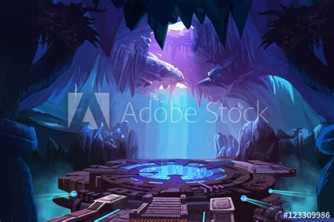 mystery cave  sci fi building video games digital cg