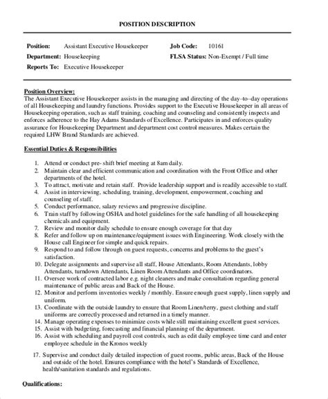 Housekeeping Coordinator Description by Housekeeper Description Exle 14 Free Word Pdf