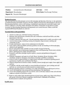 Housekeeping Manager Job Description Housekeeper Job Description Example 14 Free Word Pdf