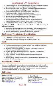 Professional Cv Templates Free Download Ecologist Cv Template 2