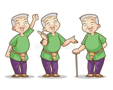 Old Man Cartoon Character Set Stock Vector