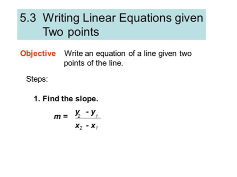 Writing Linear Equations Given Two Points Worksheet