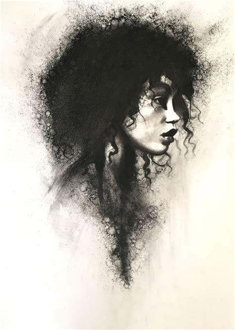 black women art stoekenbroek torn charcoal drawing