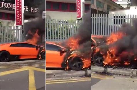 car crash lamborghini murcielago lp catches fire