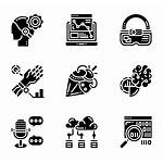 Icons Futuristic Intelligence Artificial Vector