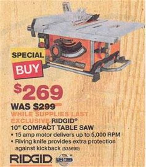 black friday table saw black friday deal ridgid 10 quot compact table saw r45161