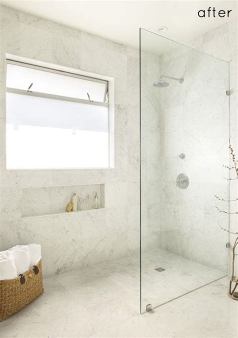 open glass shower walk in standing shower with glass wall and no door no ledge floor is continuous 10 walk in
