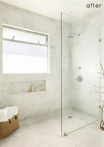 walk in standing shower with glass wall and no door no With walk in shower no door