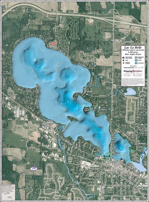 lac la belle fowler lake enhanced wall map