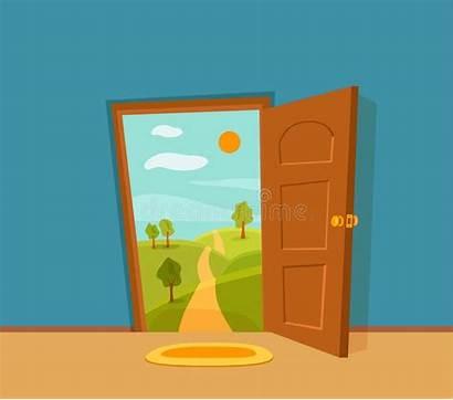 Open Door Cartoon Landscap Soleil Dessin Illustrazione