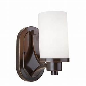 hampton bay grace 1 light rubbed bronze sconce 14691 the With oil rubbed bronze sconces for the bathroom