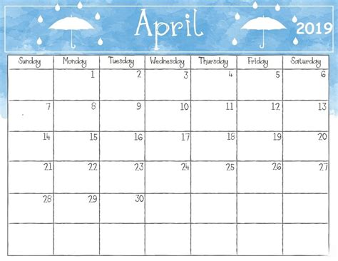 2019 Calendar Template Blank April 2019 Calendar Printable Template Editable