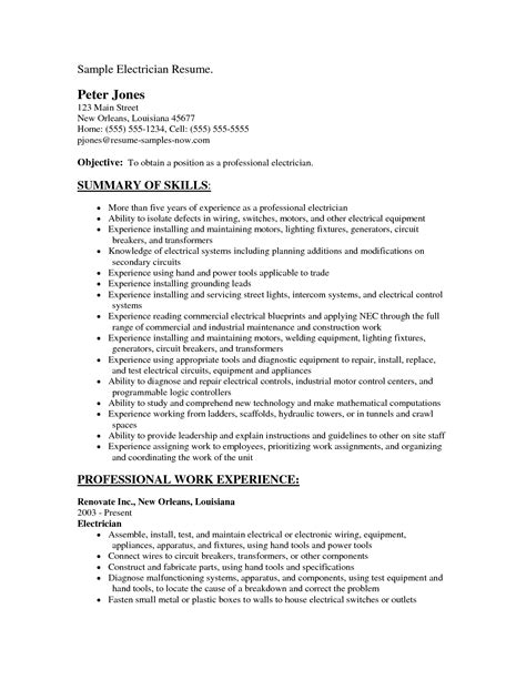 resume exle 44 journeyman electrician resume template