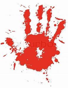 Red drop ink splatter hand print, blood splash vector ...