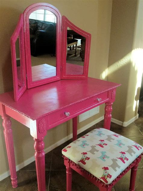 little girls makeup table furniture pink stained wooden makeup vanity table with