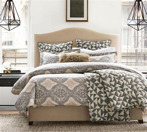 pottery barn nc raleigh upholstered camelback bed with nailhead pottery