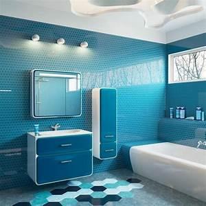 Meuble Mural Salle De Bain : meuble salle de bain moderne en blanc et bleu carrelage mural en carreaux hexagonaux carrelage ~ Teatrodelosmanantiales.com Idées de Décoration