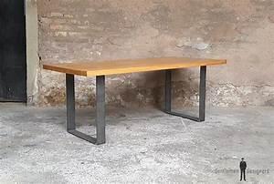 Pied De Table Original : table manger plateau ch ne massif pieds acier brut ~ Teatrodelosmanantiales.com Idées de Décoration