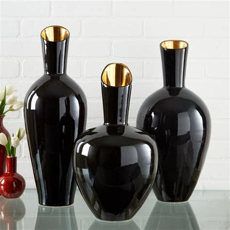 noir gold set   decorative vases