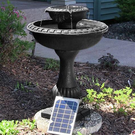 solar water birdbath 2 tier patio outdoor