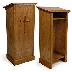 Wood Pulpit for Floor with Cross Attachment   Dark Finish