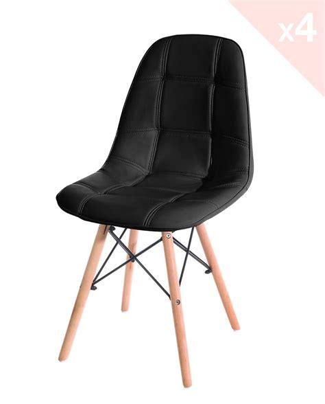 chaises simili cuir noir naba lot de 4 chaises design rétro matelassées simili cuir kayelles com
