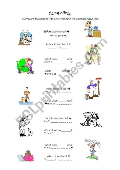 Occupations  What Does Heshe Do?  Esl Worksheet By Carinita