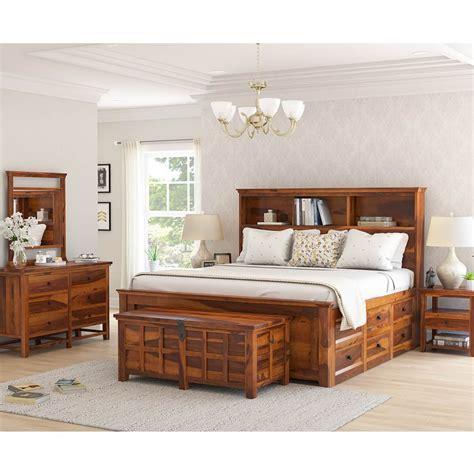 mission modern solid wood king size platform bed pc