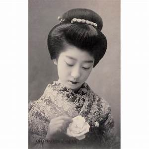 1910's. Woman With Rose. A young woman in kimono and ...